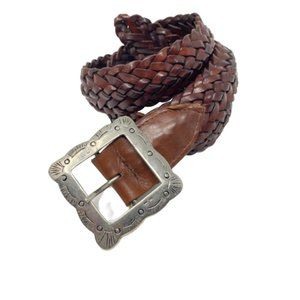 HAROLD'S Genuine Brown Braided Leather Belt Small